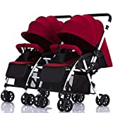 J.BB Twin Baby Stroller, Detachable Handle Reversible Infant Carriage Lightweight Foldable Double Trolley,E