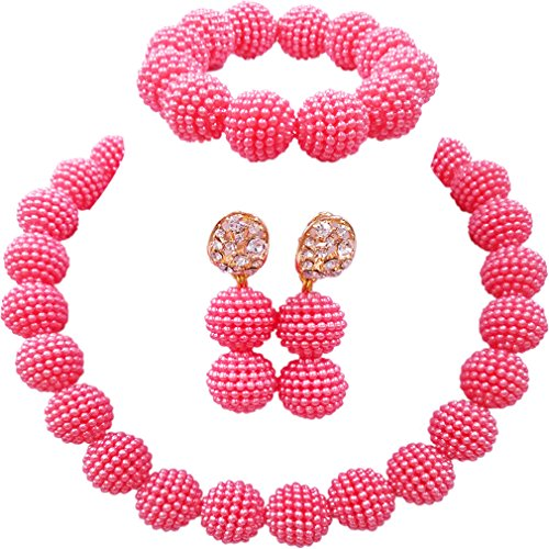 Reproduction Jewelry - laanc Fashion Women 1 Rows Multicolor Plastic Imitation Pearl Nigerian Wedding Beads African Jewelry Sets (Pink)
