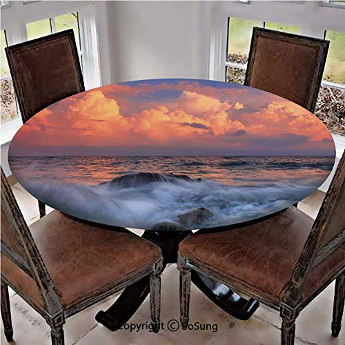 Sunrise Skirt (Elastic Edged Polyester Fitted Table Cover,Storm is Approaching With Dense Clouds at Horizon and a Wavy Sea at a Rocky Bay at Sunrise Decorative,Fits up 45