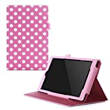 Fire HD 8 2015 Case, rooCASE [Previous Model 5th Generation] Fire HD 8 Dual View PU Folio Slim Fit Lightweight Folding Stand Cover with Sleep/Wake for Fire HD 8 2015 (5th Generation), Dot Pink
