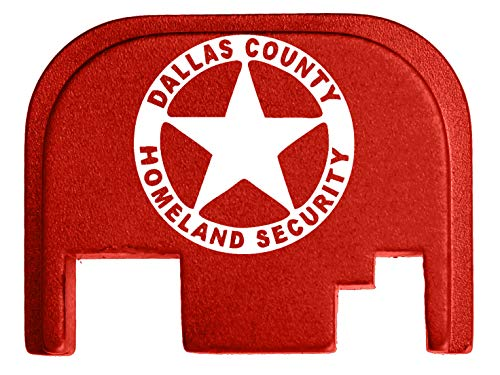 Badge Billet (for Glock Back Plate Gen 1-4 17 19 21 22 23 27 30 34 36 41 Red NDZ - Dallas County Homeland Security Badge)