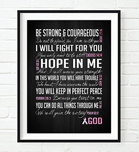 Be Strong & Courageous- Breast Cancer Awareness Encouragement Art Print, UNFRAMED, Pink Survivor Bible Verse Scriptures poster gift for her, 5x7 inches