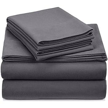 Pinzon Signature Cotton Heavyweight Velvet Flannel Sheet Set - King, Graphite