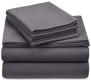 Pinzon Signature 190-Gram Cotton Heavyweight Velvet Flannel Sheet Set - Cal King, Graphite