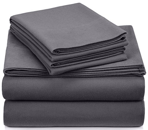 Pinzon Signature 190-Gram Cotton Velvet Flannel Queen Sheet Set, Graphite