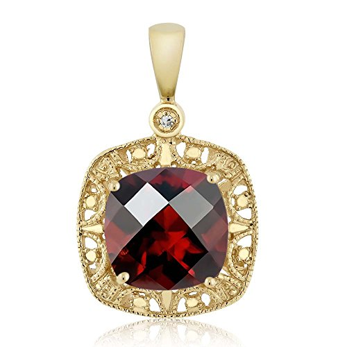 10K Yellow Gold Women's 8mm Cushion Checkerboard Red Garnet and Diamond Accent Necklace 2.4 cttw (Yellow Gold Garnet Necklace)
