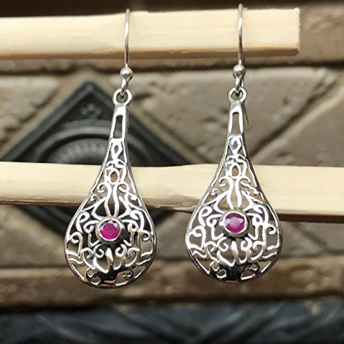 Gorgeous Ruby 925 Solid Sterling Silver Dangle Filigree Earrings 40mm long