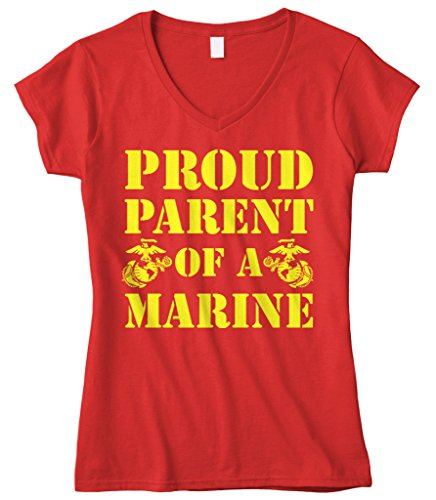 Cybertela Women's Proud Parent Of A Marine USMC Fitted V-Neck T-Shirt (Red, Large)