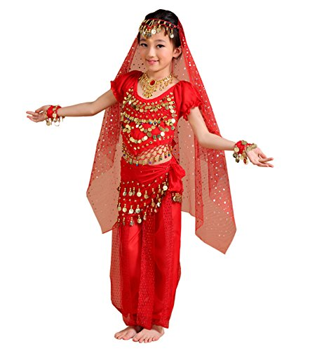 Astage Children Indian Belly Dance Girl Costume Halloween Performance Sets Red Small for $<!--$28.09-->
