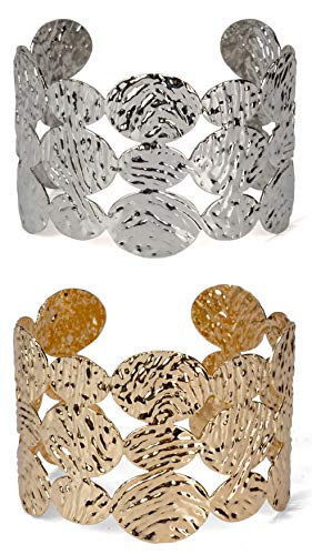 (SPUNKYsoul Cuff Bracelet Textured Ovals in Gold and Silver for Women (Gold & Silver (2 Pack))