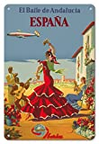 Pacifica Island Art 8in x 12in Vintage Metal Tin Sign - España (Spain) - The Dance of Andalusia - Iberia Air Lines of Spain - Flamenco Dancers