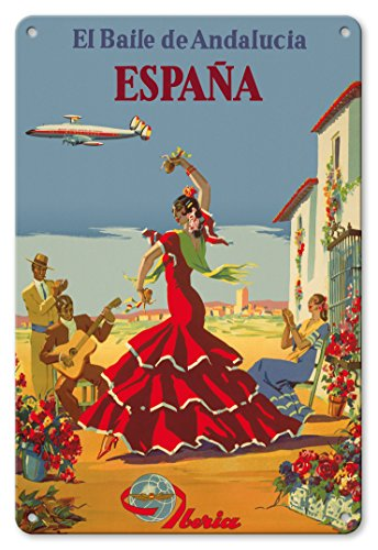 Pacifica Island Art 8in x 12in Vintage Metal Tin Sign - España (Spain) - The Dance of Andalusia - Iberia Air Lines of Spain - Flamenco Dancers by Pacifica Island Art