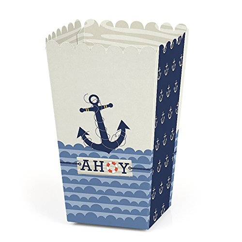 Ahoy - Nautical - Baby Shower or Birthday Party Favor Popcorn Treat Boxes - Set of 12 -