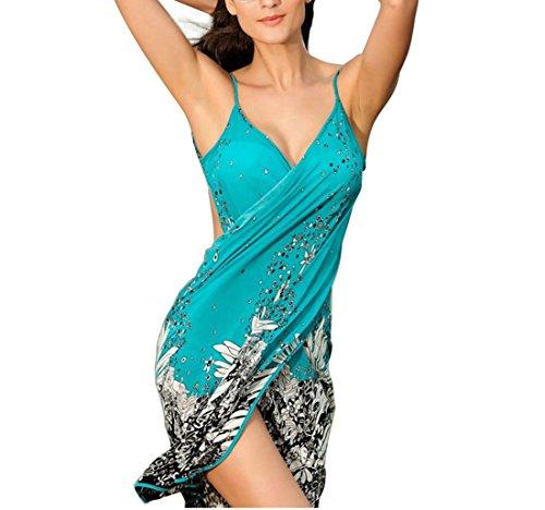 ZODLLS Women's Swimsuit Cover up Beach Dress Summer Chiffon Blouses Bikini Cover up Swimwear (D-Blue, One Size)