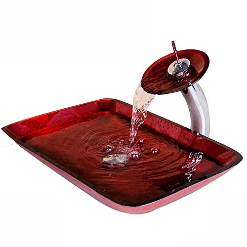 (WEIXINTECH Bathroom Washbasin New Red Rectangular Victory Hand Paint Washbasin Tempered Glass Basin Sink With Brass Faucet Bathroom Sink Set)