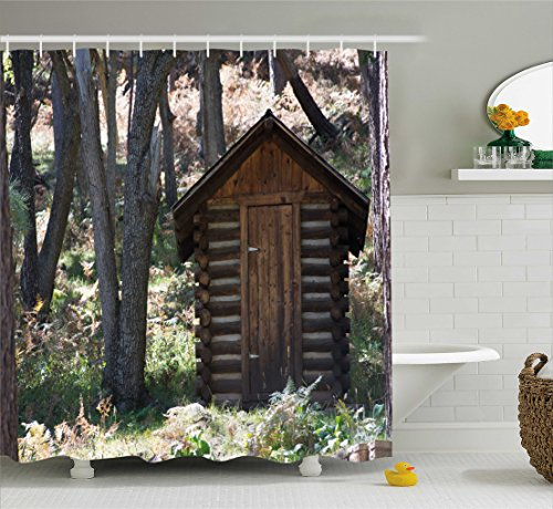 - Ambesonne Outhouse Shower Curtain, Wooden Primitive Life Barn Shed in Spring Forest Leaves Lumberjack Photo, Fabric Bathroom Decor Set with Hooks, 70 Inches, Dark Brown and Green