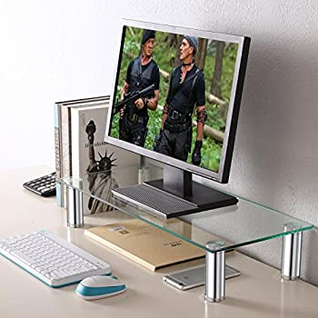 "Black Friday Deals TAVR Clear Computer Monitor Stand Desktop Riser with Tempered Glass Height Adjustable 23.6 x 10.2"" CM2001"