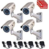 VideoSecu 4 Pack 1/3 PIXIM DPS 690TVL Security Camera WDR OSD Zoom Bullet Outdoor IR-Cut Filter Infrared Day Night 6-15mm Lens CCTV for DVR Home with Power Supplies BZV
