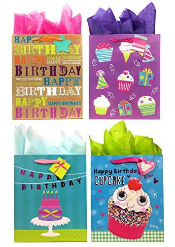 Sweet Treats Birthday Gift Bags + Tissue Paper, 4 Large Bags + Tissue Paper ()