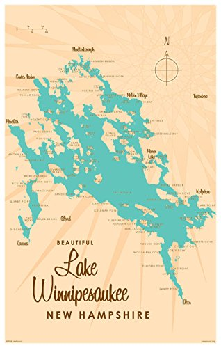 Lake Winnipesaukee New Hampshire Map Vintage-Style Art Print by Lakebound (12