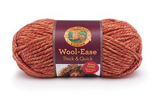 Lion Brand Yarn 641-524 Wool-Ease Thick and Quick Bonus Bundle Yarn, Tangerine (Tangerine Wool)