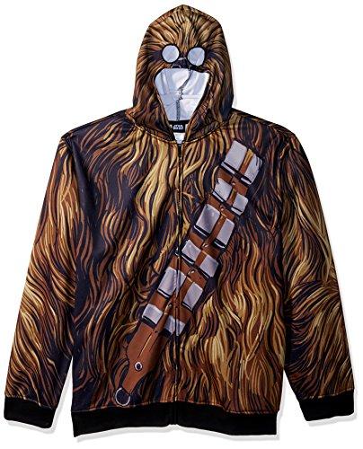 Star Wars Men's Chewbacca Character Zip Front Hoodie, Brown, Medium -