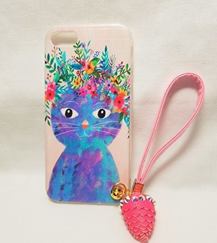 Forest animal Soft silcone iphone 7 case with Sling (pale pink case witrh blue cat with colorful (Sling Pastel)