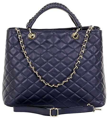 Handmade Italian Leather - Primo Sacchi Italian Leather Hand Made Large Navy Quilted Shoulder Bag Handbag