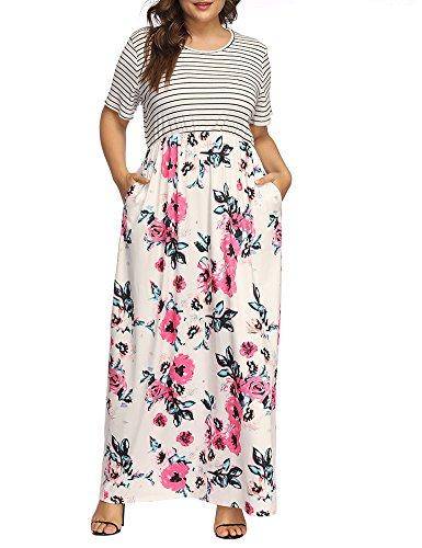 Allegrace Taille Plus Imprimé Floral Femmes Robe Maxi Patchwork Rayé À Manches Courtes Robes Longues Blanc