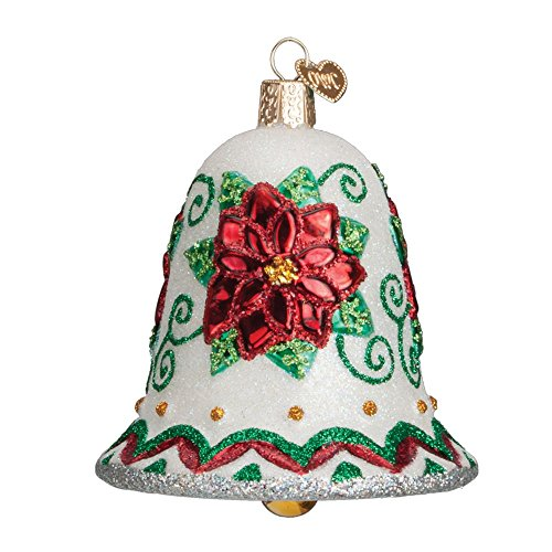 Old World Christmas Ornaments: Poinsettia Bell Glass Blown Ornaments for Christmas Tree