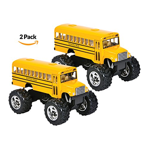 Die Cast Yellow School Bus   2 Pack Set Monster Truck School Bus  Pull Back Car Toys  Play Vehicles And Gifts For Toddlers  Kids That Makes For Great Party Favors   By Bedwina