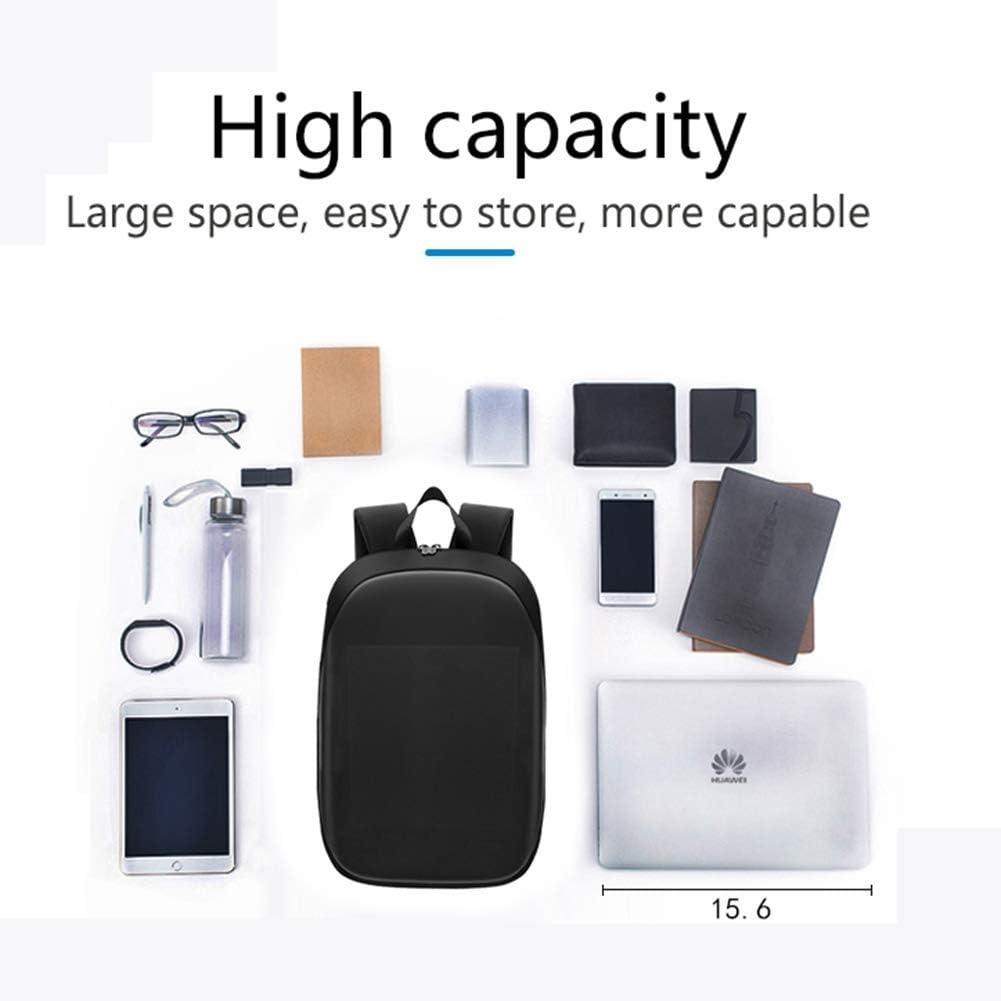 Smart LED Sac /à Dos /étanche Affichage /à LED Programmable Intelligent Daypack pour Ordinateur Portable 15,6 Pouces 20L Sacs d/école de nouveaut/é de Grande capacit/é avec Chargement USB,Gris
