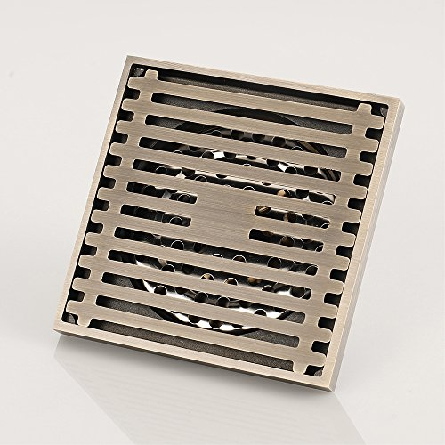 Shower Floor Drain Square Tile Insert 4-Inch Pure Cupper Brushed Grate Strainer With Removable Cover Anti-Clogging, High-Grade Bronze Floor Drain by YJZ (Image #3)