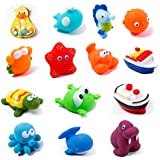 KIDAMI 13-Pack Ocean Squirting Bath Toy Organizer for Kids, Baby Bathtub Toy Bag with 2 Extra Strong Hooked Suction Cups