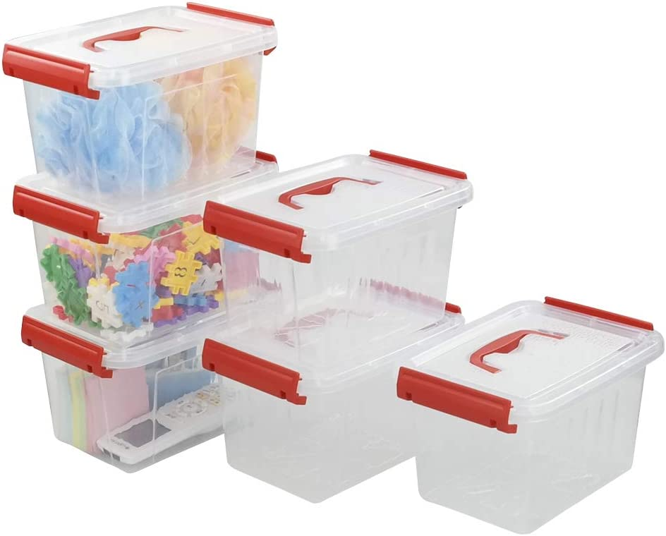 Kiddream 3 Quart Latching Plastic Box, Storage Containers with Lids Set of 6
