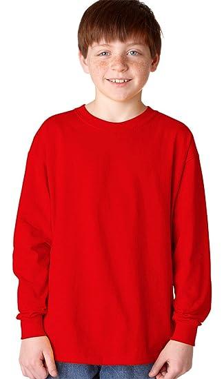 Amazon Gildan 5400B Youth Heavy Cotton Long Sleeve T Shirt Red