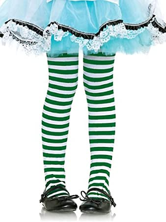 a66569c63b9 Image Unavailable. Image not available for. Color  Girl s Green and White  Striped Tights