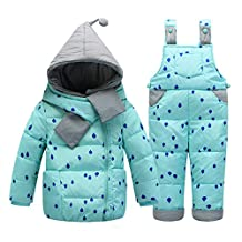 Little Girls' Snowsuit Jacket with Scarf Dot Printed Puffer Coat Toddler