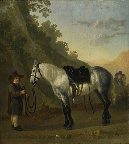 ('Abraham Van Calraet A Boy Holding A Grey Horse ' Oil Painting, 10 X 11 Inch / 25 X 28 Cm ,printed On Polyster Canvas ,this Reproductions Art Decorative Prints On Canvas Is Perfectly Suitalbe For Wall Art Decor And Home Decor And Gifts)