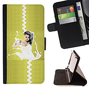 For Samsung Galaxy S5 V SM-G900 Sexy Pin Up Splash Beautiful Print Wallet Leather Case Cover With Credit Card Slots And Stand Function