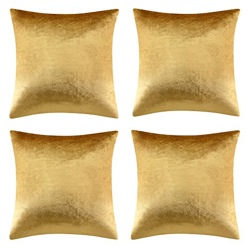 INVACHI 4 Pcs Luxury Shinny Soft Velvet Golden Home Decor Sofa Throw Pillow Cushion Cover for Couch (20