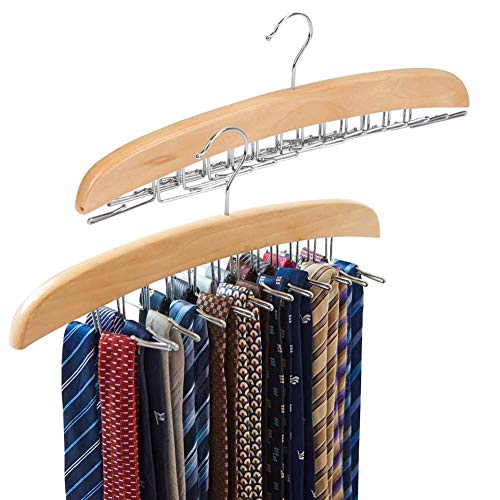 EZOWare [2-Pack] Tie Belt Hangers, Adjustable 24 Clip Scarf Racks Holder Hook Hanger for Closet Organizer Storage - Beige