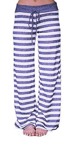 Artfish Women's Stretch Cotton Pajama Lounge Pants Stripes Sleepwear,Bluish/Purple Stripes (11#, XL) - Stripe Pajama Pants Sleepwear