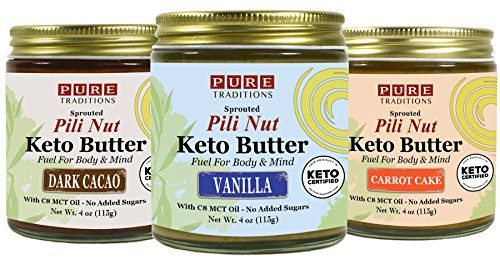 Cashew Nut Cake - Pili Nut Keto Butter: Vanilla, Dark Cacao & Carrot Cake (4 oz each), 3 Flavor Variety Pack