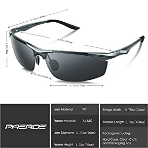 PAERDE Men's Sports Style Polarized Sunglasses for Men Driving Fishing Cycling Golf Running Al-Mg Metal Frame Ultra Light Glasses (Gray)