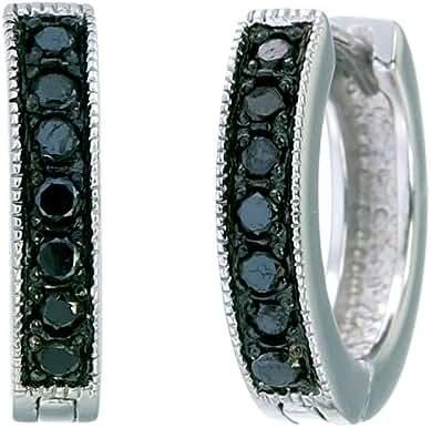1/4 CT Black Diamond Hoop Earrings .925 Sterling Silver