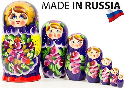 Russian Nesting Doll - Traditional POLKHOV MAIDAN - Hand Painted in Russia - Medium Size - Wooden Decoration Gift Doll - Matryoshka Babushka (Purple, 8``(7 Dolls in 1))