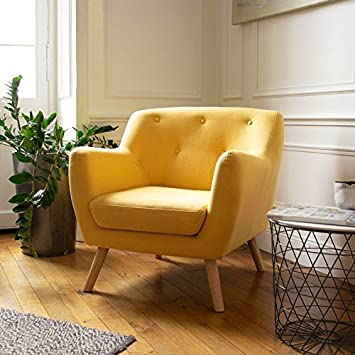 idmarket fauteuil scandinave en tissu jaune moutarde amazonfr bricolage - Fauteuil Jaune Scandinave