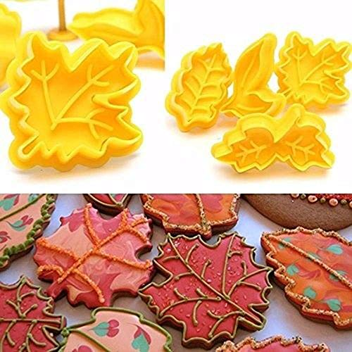 4PCS Biscuit Mold, Pastry Decorating 3D Mould Baking Fondant Pie Crust Cutters Leaves Press Cookie Cutter Biscuit Mold Plunger