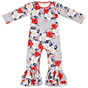Anbaby Baby Girls Cute Romper Bodysuit Clothes (0-6Months, Flower)
